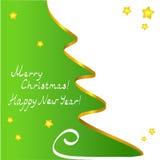 Рождественская открытка с деревом контура Стоковая Фотография