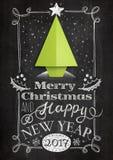 Рождественская открытка с деревом доски и origami Стоковая Фотография RF
