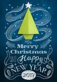 Рождественская открытка с деревом доски и origami Стоковое Фото