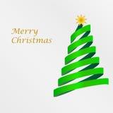 Рождественская открытка с деревом от ленты Стоковая Фотография RF