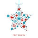 Рождественская открытка с звездой с красными, голубыми и серыми снежинками Стоковое фото RF