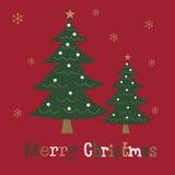 Рождественская открытка с дизайном дерева Стоковое Фото