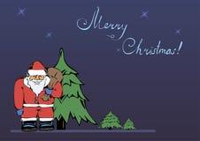 Рождественская открытка с изображением Санта Клауса Стоковое Изображение RF