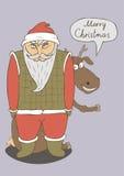 Рождественская открытка с изображением Санты Стоковые Изображения