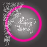 Рождественская открытка с колоколами и праздником рукописных слов счастливым Стоковые Изображения RF