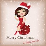 Рождественская открытка с милой девушкой santa иллюстрация штока