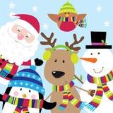 Рождественская открытка с милыми характерами Сантой и друзьями Стоковое Изображение