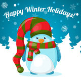 Рождественская открытка с милым пингвином шаржа Стоковое фото RF