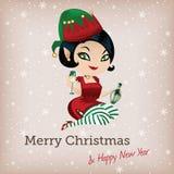 Рождественская открытка с милым эльфом иллюстрация штока