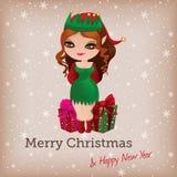 Рождественская открытка с милым эльфом бесплатная иллюстрация