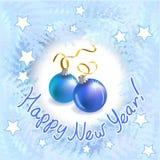Рождественская открытка с морозными картинами и шариками Стоковое Изображение