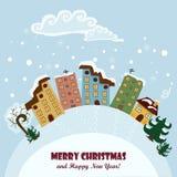 Рождественская открытка с домами и знаками также вектор иллюстрации притяжки corel Стоковые Изображения