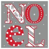 Рождественская открытка с оформлением Noel Стоковое Изображение