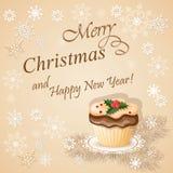 Рождественская открытка с пирожным Стоковая Фотография