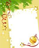 Рождественская открытка с праздничной ветвью и шариком Стоковые Фото