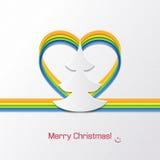 Рождественская открытка с рождественской елкой на белизне Стоковые Фотографии RF