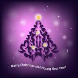 Рождественская открытка с рождественской елкой на запачканной предпосылке Стоковое фото RF