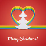 Рождественская открытка с рождественской елкой бесплатная иллюстрация