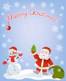 Рождественская открытка с Сантой и снеговиком Стоковые Изображения