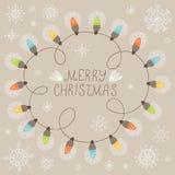 Рождественская открытка с светами Стоковые Фото
