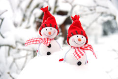 Рождественская открытка с снеговиком зимы Стоковые Изображения RF