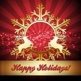 Рождественская открытка с снежинкой и северными оленями иллюстрация вектора