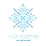 Рождественская открытка с снежинкой нарисованной рукой Стоковые Фотографии RF