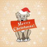 Рождественская открытка с собакой шаржа Стоковое фото RF