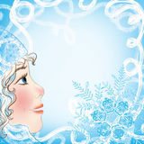 Рождественская открытка с стороной и снежинками младенца Стоковое фото RF