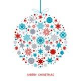 Рождественская открытка с шариком Xmas с красочными снежинками Стоковое Изображение