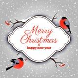 Рождественская открытка с bullfinches и rowanberries Стоковая Фотография RF