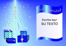 Рождественская открытка украшенная с деревом Xmas, шариками и подарочными коробками голубым esp2a Стоковое Изображение