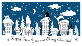Рождественская открытка установила с fairy котами на крышах Стоковое фото RF