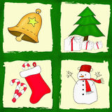 Рождественская открытка установленная с 4 изображениями Стоковое фото RF