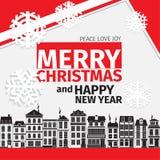 Рождественская открытка цветовой схемы современного стиля красная черная белая Стоковая Фотография RF