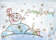 Рождественская открытка для дизайна xmas с снеговиком нарисованным рукой Стоковое Изображение RF