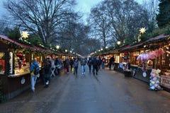 Рождественская ярмарка Гайд-парк Лондон Стоковые Фотографии RF