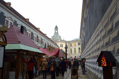 Рождественская ярмарка на замке Дрездена Стоковое Фото
