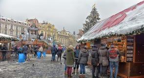 Рождественская ярмарка на старой городской площади Стоковое Изображение