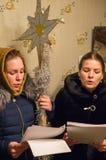 Рождественские гимны для рождества 8-ое января 2016 в зоне Kaluga (центральная Россия) стоковое изображение rf