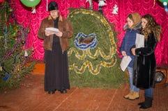 Рождественские гимны для рождества 8-ое января 2016 в зоне Kaluga (центральная Россия) стоковое фото
