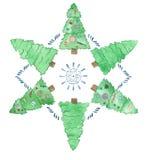 Рождественские елки акварели с снежинками иллюстрация штока