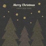 Рождественские елки иллюстрации вектора поставленные точки золотом предпосылка красит желтый цвет праздника красный С Рождеством  Стоковое Изображение