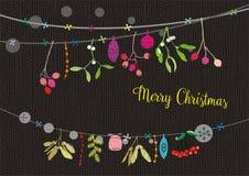 Рождественские открытки, гирлянды рождества, хворостина, опарникы и орнаменты, с Рождеством Христовым желания Стоковое Изображение