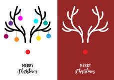 Рождественские открытки с antlers, вектором иллюстрация вектора