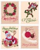 Рождество вектора винтажное штемпелюет венок омелы Стоковые Изображения
