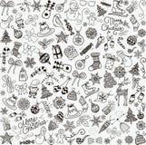 Рождество вектора нарисованное рукой Doodles безшовная предпосылка иллюстрация вектора