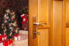 Рождество дверь Стоковое Изображение