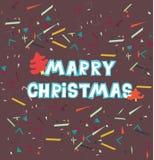 рождество веселое Милой нарисованные рукой карточки и приглашения праздника Стоковые Изображения RF