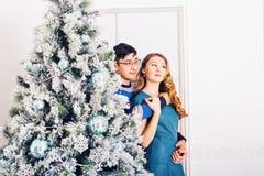 рождество веселое Молодые пары празднуя рождество дома Стоковое Фото